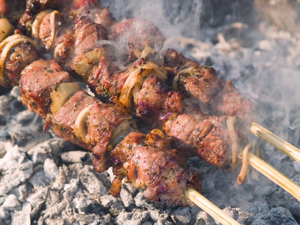 Kebabs cooking on the gril